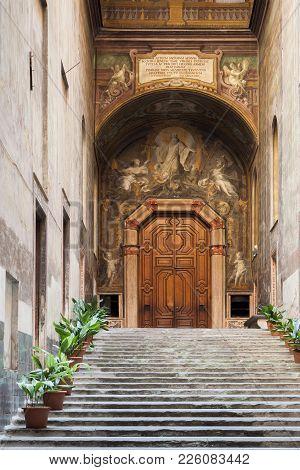 Chiostro Di San Gregorio Armeno. Antrance Of The Cloister Of Armenian Sanctuary In Naples, Italy