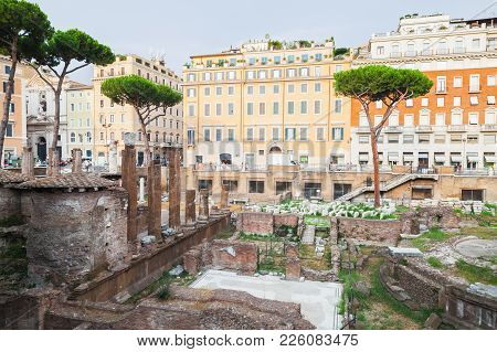 Rome, Italy. Largo Di Torre Argentina Square With Four Roman Republican Temples And The Remains Of P