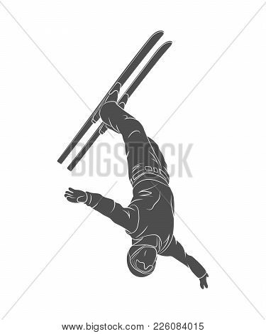 Jumping Freestyle Skier. Winter Sport On A White Background. Vector Illustration.