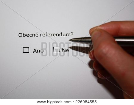Popular referendum in the Czech republic? Yes or no. In czech language. poster