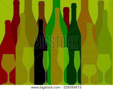 Wine Background Vector.bottle Of Alcohol Illustration.design For Wine.glasses To Alcohol.alcohol Vec