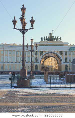 Historical Architecture Of Palace Square In St. Petersburg, Russia. Touristic Landmarks Of Saint-pet