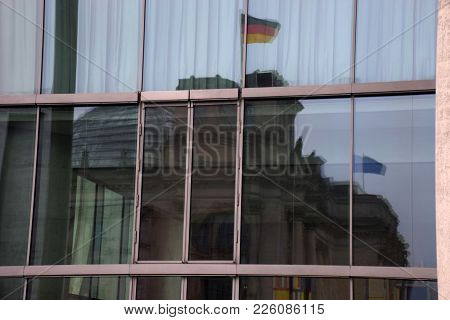 Modern Business Architecture, Abstract Fragment, Walls Made Of Glass And Steel With Reflections Of P