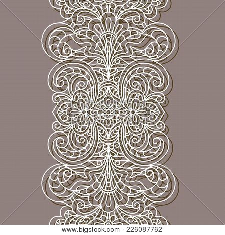Vintage Lace Border Pattern Linear Ornament Cutout Paper Decoration For Greeting Card Or Wedding Invitation Design