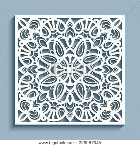 Decorative Panel With Lace Pattern, Square Ornamental Template For Laser Cutting Or Wood Carving, Cu