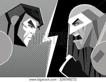 Good Versus Evil. Superhero. Clash And Confrontation. Vector Illustration