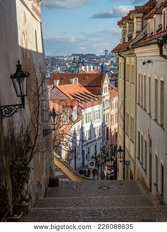 Prague, Czech Republic - January 30, 2018: Radnice Stairs At Hradcany