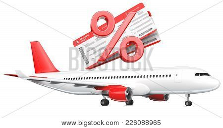 3d Percent Or Discount Symbol With Airline Boarding Pass Tickets Over The Commercial Airplane, Passe
