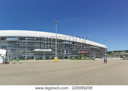 Russia, Sochi, Krasnodar Region-june 05.2017: The Main Grandstand Of The Sochi Autodrom And The Muse