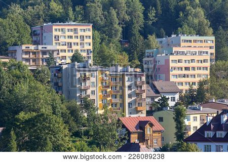 Apartment buildings in small town in valley