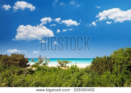 Elafonissi Lagoon, Crete Island, Greece. Elafonisi Beach Is One Of The Best Beaches Of Europe. There