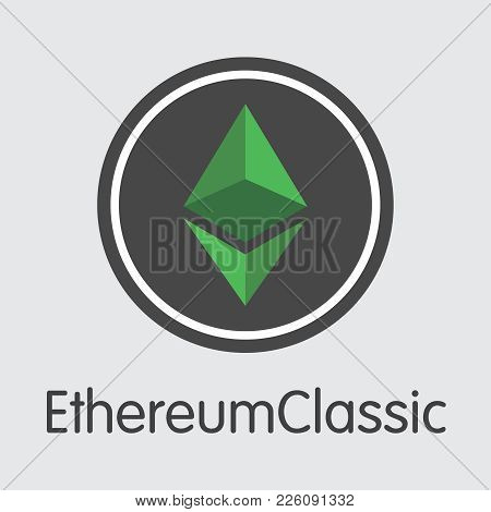 Ethereum Classic - Digital Currency Simbol. Vector Illustration Of Cryptocurrency Icon On Grey Backg
