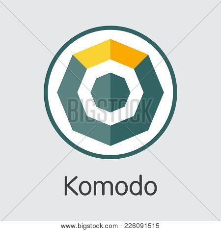 Komodo - Vector Colored Icon Of Virtual Currency Logo On Grey Background. Cryptocurrency Concept. Ve