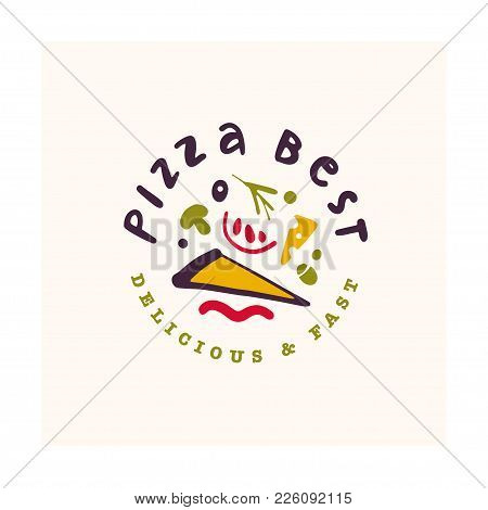 Vector Pizza Bar Logo Design Isolated On White Background. Fast Food Icon Hand Drawn - Pizza Symbol.