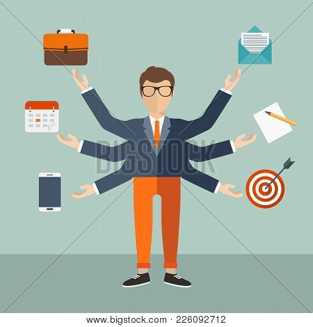 Human Resource And Self Employment Concept. Development And Internet Service. Flat Vector Illustrati