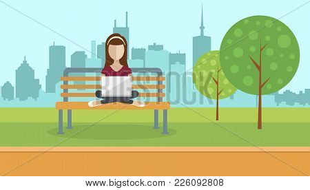 Woman Sitting In A Park, Holding Lap Top On Her Lap. Social Network Concept. Flat Vector Illustratio