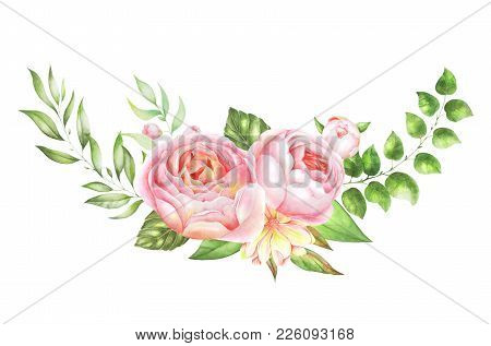 Watercolor Flowers. Hand Painted Floral Illustration. Bouquet Of Flowers Pink Rose, Leaves. Design A