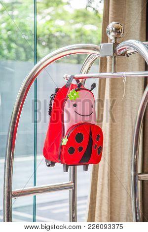 Hotel Luxury Trolley Barrow Silver Chrome With Orange Girl Bag