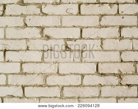 White Country Style Brick Wall Background Photograph. Rough Textured Bricks Painted White In Farmhou
