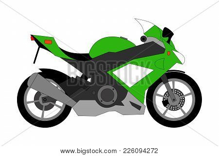 Green Racing Motorcycle Isolated On The White Background