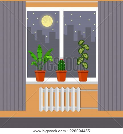 Big Window With Curtain And Plants In Pots On The Windowsill. Night City, Moon, Clouds And Stars Out