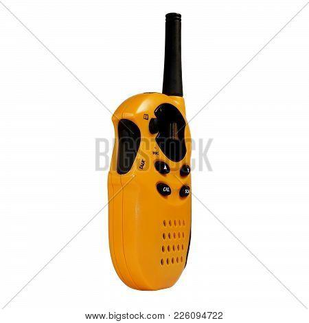 Portable Radio Station Yellow White Isolated Background Communication Mobile Antenna