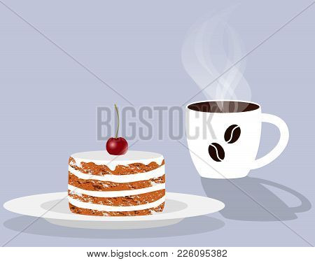 Cup Of Fragrant Steaming Coffee And Cake With Cherry On A Saucer. Vector Illustration In Flat Style