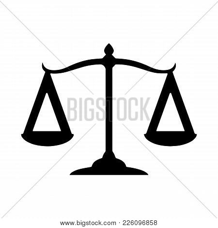 Law Scale Vector Icon, Justice Symbol. Modern, Simple Flat Vector Illustration For Web Site Or Mobil