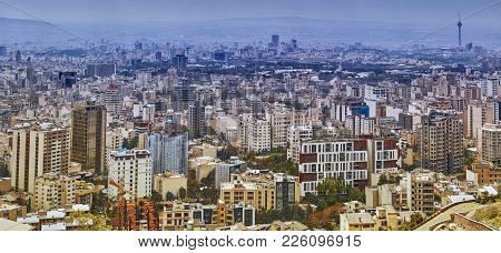 Tehran, Iran - April 28, 2017: Tehran Skyline With High-rise Buildings, And Green Parks.