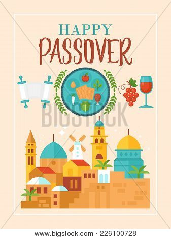 Passover Holiday Greeting Card Design With Jerusalem Old City And Seder Plate