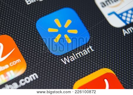 Sankt-petersburg, Russia, February 9, 2018: Walmart Application Icon On Apple Iphone X Screen Close-