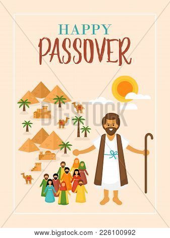 Passover Holiday Greeting Card Design With Moses And Egypt Landscape