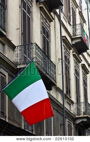 Italian Flags On A Facade