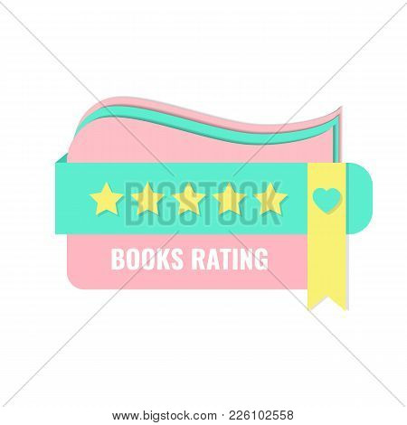 Book Rating Concept With Bookmark And Stars. Banner For Book Club, Book Community, Bookstore, Librar