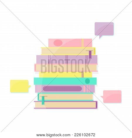 Books Pile And Bookmark With Speech Bubble. Books Infographic. Vector Illustration.