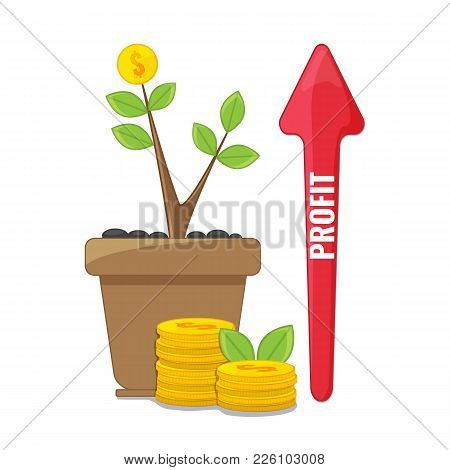 Profit Or Financial Growth Concept. Profit Graph, Business Success. Money Growing On Tree. Rising Gr