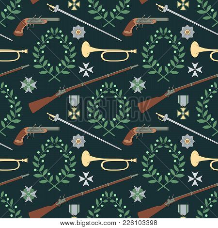 Seamless Pattern With Weapon Of The 19th Century. Can Be Used For Graphic Design, Textile Design Or
