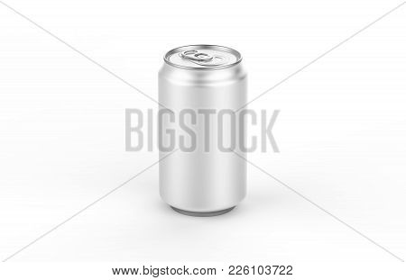 Aluminum Can Mockup Isolated On Background. 330ml Aluminum Tin Soda Can Mock Up. Ideal For Beer, Lag