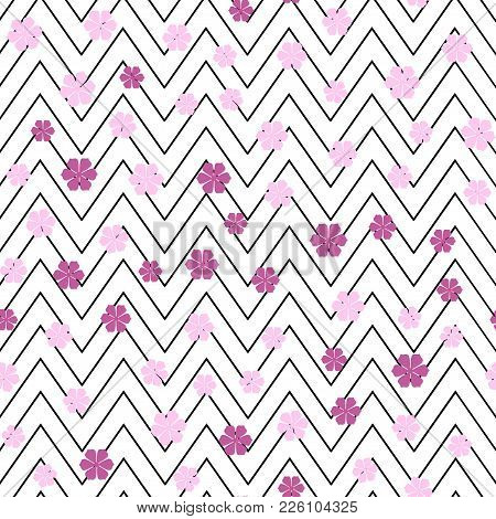 Seamless Pattern With Zig Zag Lines And Pink Flowers. Vector.