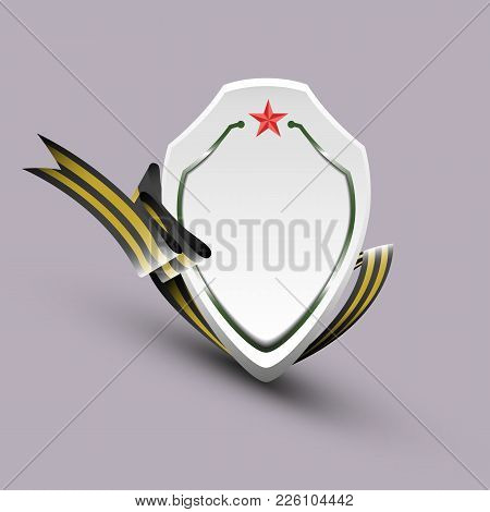 Banner In The Form Of A Shield, With St. George Ribbon - Vector Eps10