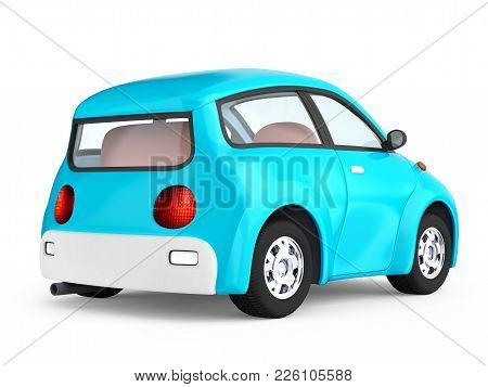 Small Cute Blue Car Back View Isolated On White. 3d Illustration