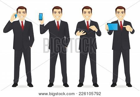 Businessman With Gadgets In Different Poses Vector Collection Illustrationman With Gadgets In Differ