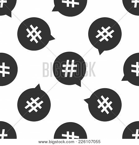 Hashtag In Circle Icon Seamless Pattern On White Background. Social Media Symbol, Concept Of Number
