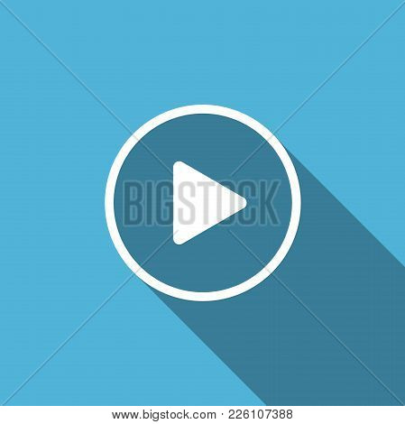Play Icon Isolated With Long Shadow. Flat Design. Vector Illustration