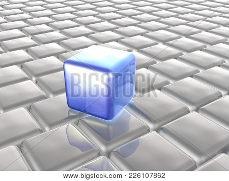 Blue And Grey Cubes As Abstract Background, 3d Illustration.