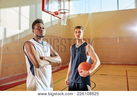 Serious Confident Professional Basketball Players Ready For Game: Handsome African-american Guy With