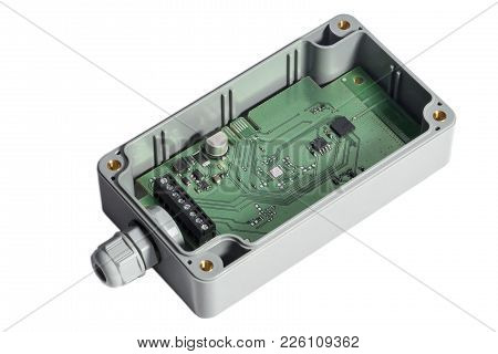 Electric Control Panel In Junction Box. Isolated On White. Wireless Integrated.