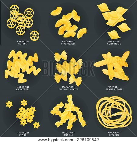 Macaroni In Different Variations. Set Of Pasta, Fusilli, Conchiglio, Rigatoni, Farfalle, Penne, Ruot