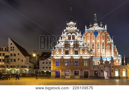 House Of The Blackheads, Building Situated In The Old Town Of Riga.