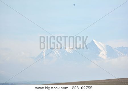 Europe, Slovakia, Liptov Region. View For The Smallest High Moutains In The World With Air Ballon.